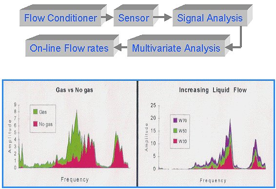 Signal processing of the Well Flow Analyzer and spectral presentation of signal